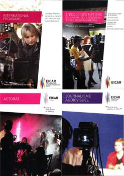 Couvertures de plaquettes de présentation de l'école EICAR produites par Maud Ezavin