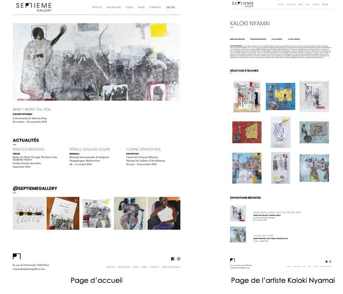 Illustrations du site de SEPTIEME Gallery Paris, conception et réalisation Maud Ezavin